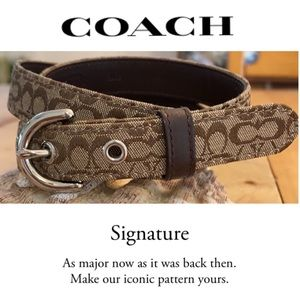 Coach Brown Leather & Signature C Belt, NWOT